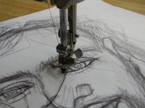 starting a stitched drawing..