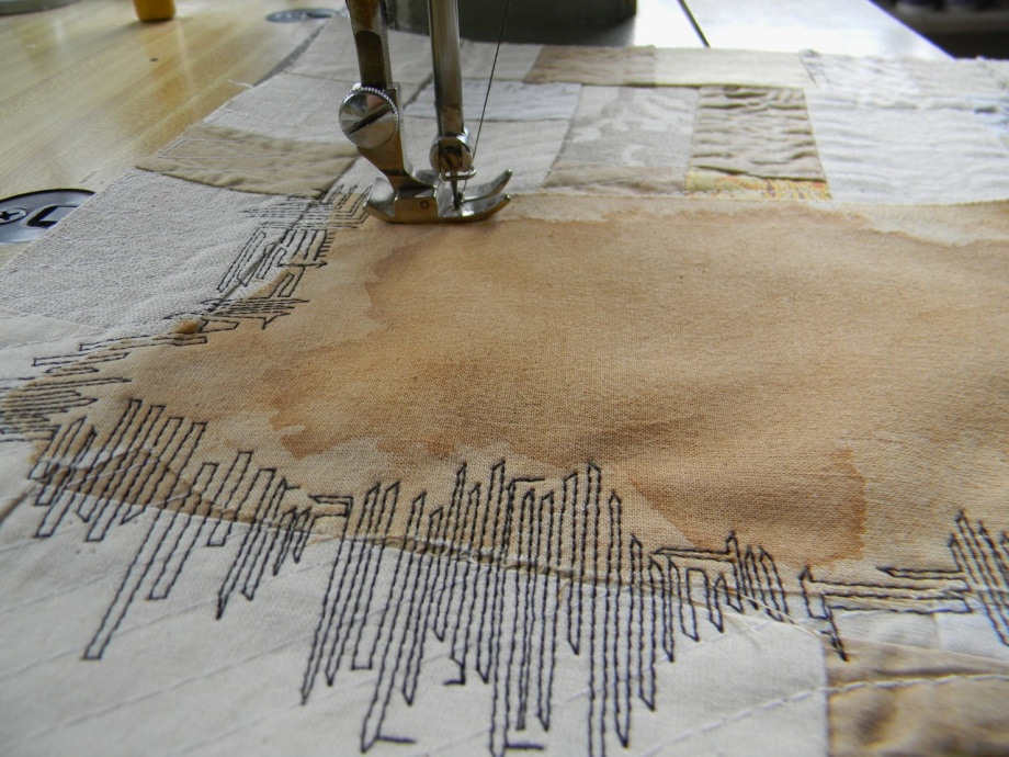 stitching down tea stains