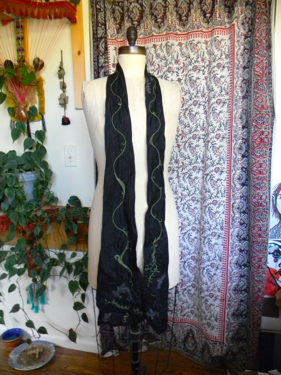long black linen stitched scarf1