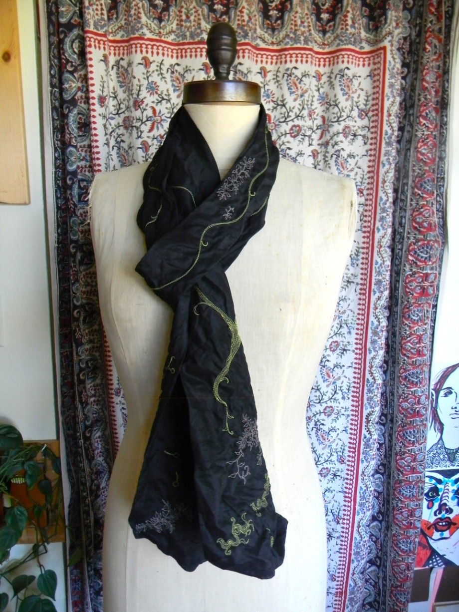 long black linen stitched scarf6