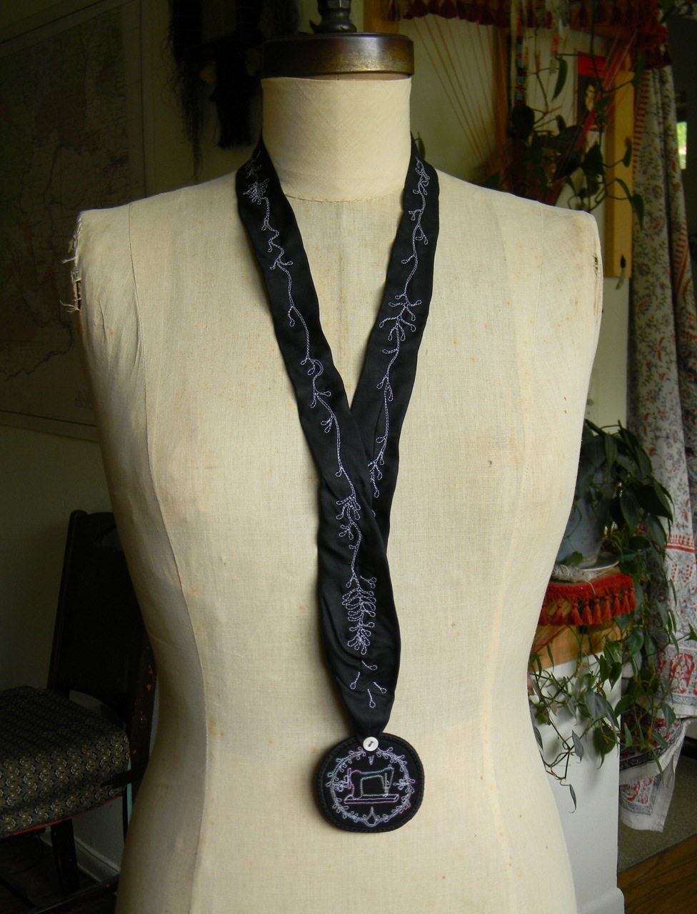 sewing machine medallion necklace1